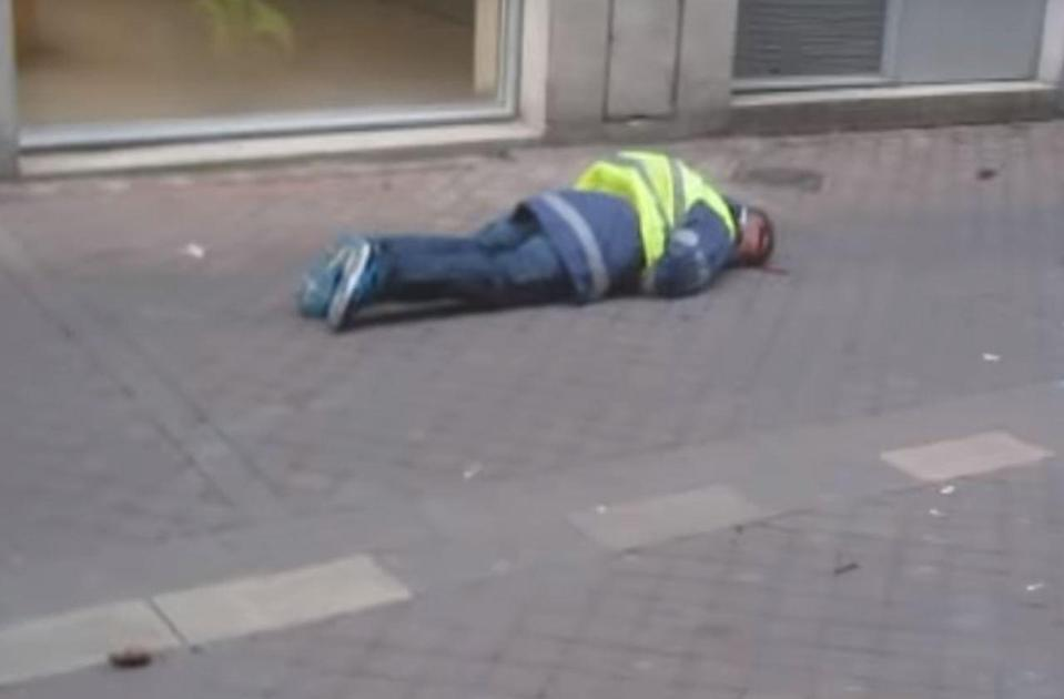 Mr Beziade is pictured lying on the ground after being shot in the head (Picture: France 3)