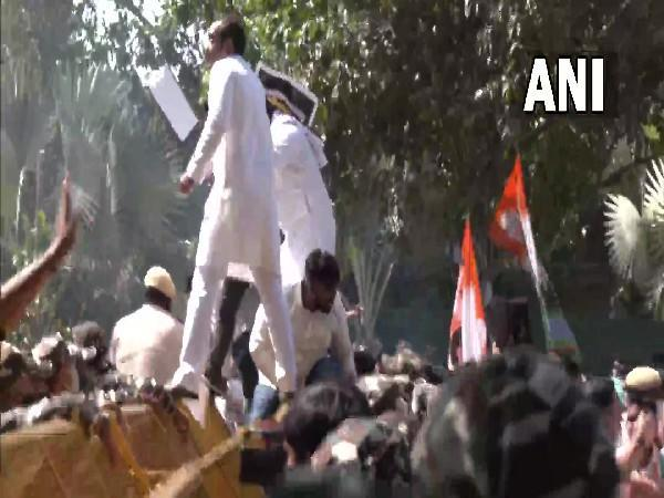 Youth Congress workers protesting over Lakhimpur Kheri violence (Photo/ANI)