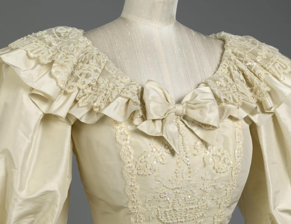 The neckline of the princess's gown