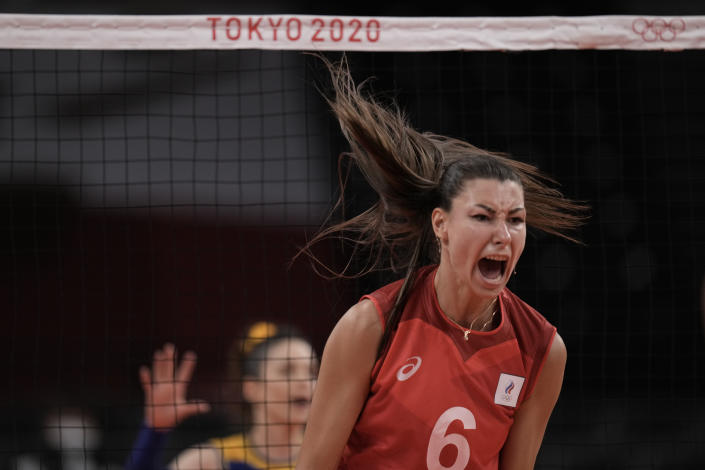 <p>Irina Koroleva, of the Russian Olympic Committee, celebrates a point during a women's volleyball quarterfinal match against Brazil, at the 2020 Summer Olympics, Wednesday, Aug. 4, 2021, in Tokyo, Japan. (AP Photo/Manu Fernandez)</p>