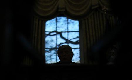 U.S. President Donald Trump sits for an interview with Reuters in the Oval Office of the White House in Washington, U.S., April 27, 2017. REUTERS/Carlos Barria