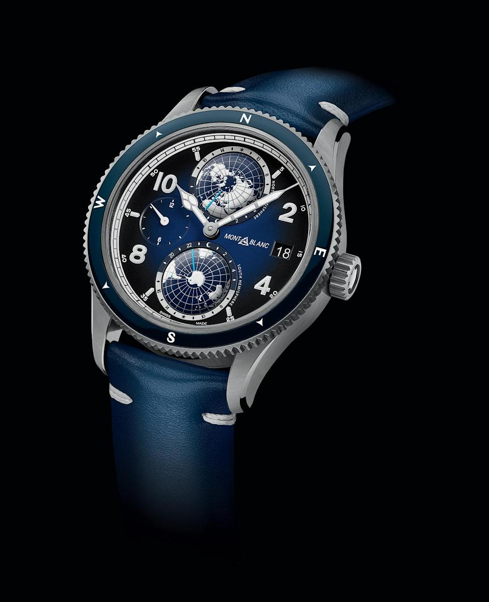 "<p>Taking its cue from Montblanc's military chronographs that were produced in the 1920s and 1930s, the sporty and bold 1858 Geosphere features a deep blue dial and contrasting icy white luminescent elements. It's a stylish wardrobe upgrade, and sturdy enough for any sport.<em>($5,800)</em></p><p><a class=""link rapid-noclick-resp"" href=""https://go.redirectingat.com?id=74968X1596630&url=http%3A%2F%2Fmontblanc.com%2F&sref=https%3A%2F%2Fwww.townandcountrymag.com%2Fstyle%2Fjewelry-and-watches%2Fg32268445%2Fbest-new-mens-luxury-watches-2020%2F"" rel=""nofollow noopener"" target=""_blank"" data-ylk=""slk:Learn More"">Learn More</a></p>"