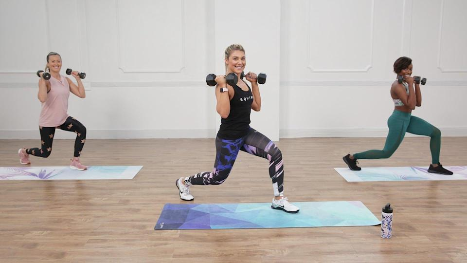 """<p><strong>Equipment needed:</strong> pair of medium- to heavy-weight dumbbells (five to 20 pounds)</p> <p>Challenge yourself with this heart-pumping <a href=""""https://www.popsugar.com/fitness/Advanced-Full-Body-HIIT-Workout-44934040"""" class=""""link rapid-noclick-resp"""" rel=""""nofollow noopener"""" target=""""_blank"""" data-ylk=""""slk:30-minute HIIT workout"""">30-minute HIIT workout</a> from Equinox trainer Anja Garcia - she's fun, but she'll make you work!</p>"""