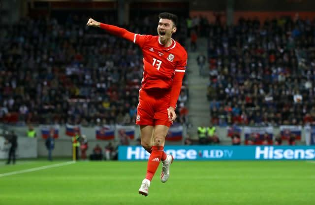 Wigan striker Kieffer Moore has been an instant hit for Wales (Tim Goode/PA)