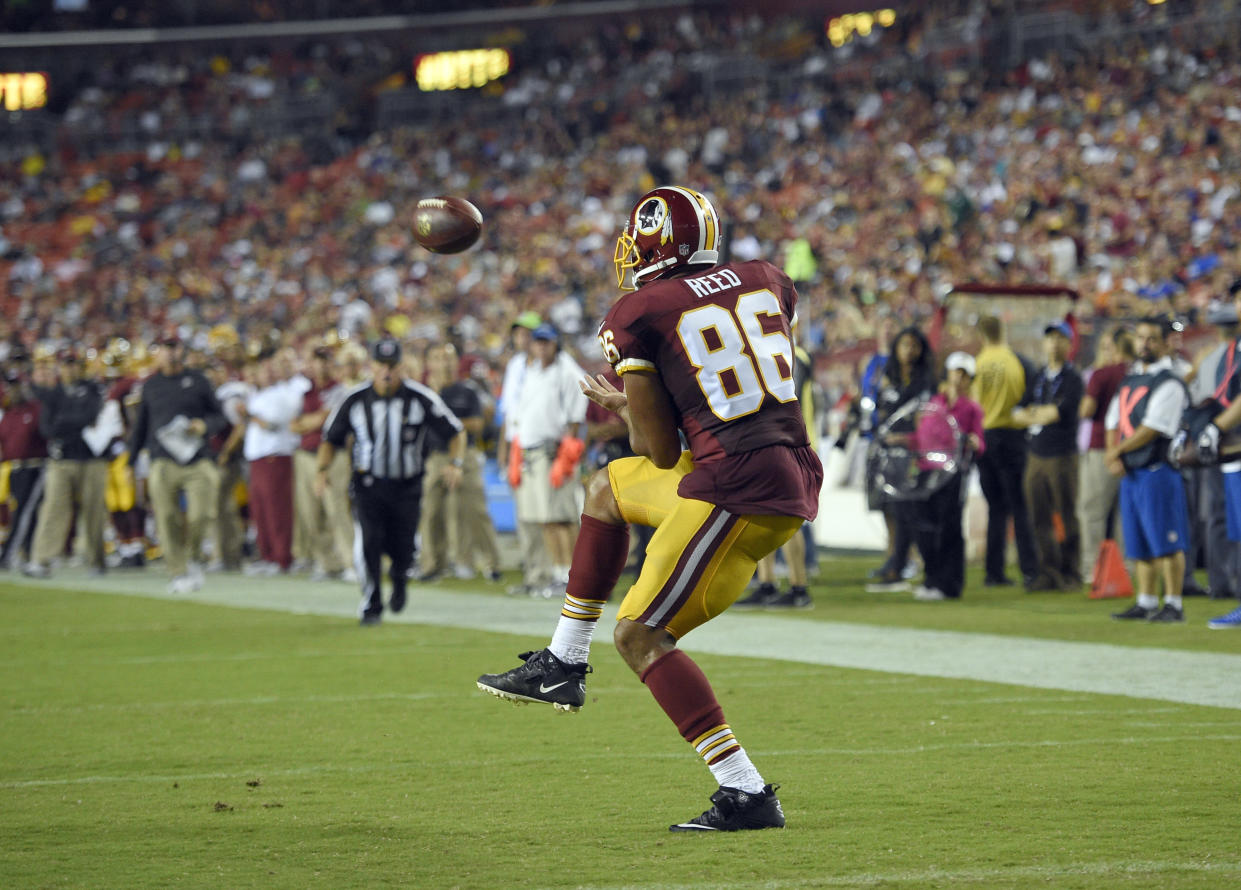 Jordan Reed was not happy after a helmet-to-helmet hit wasn't penalized. (AP Photo)