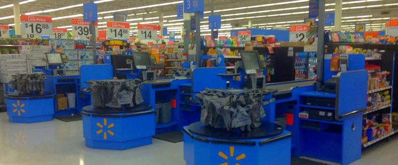 The inside of a Walmart store