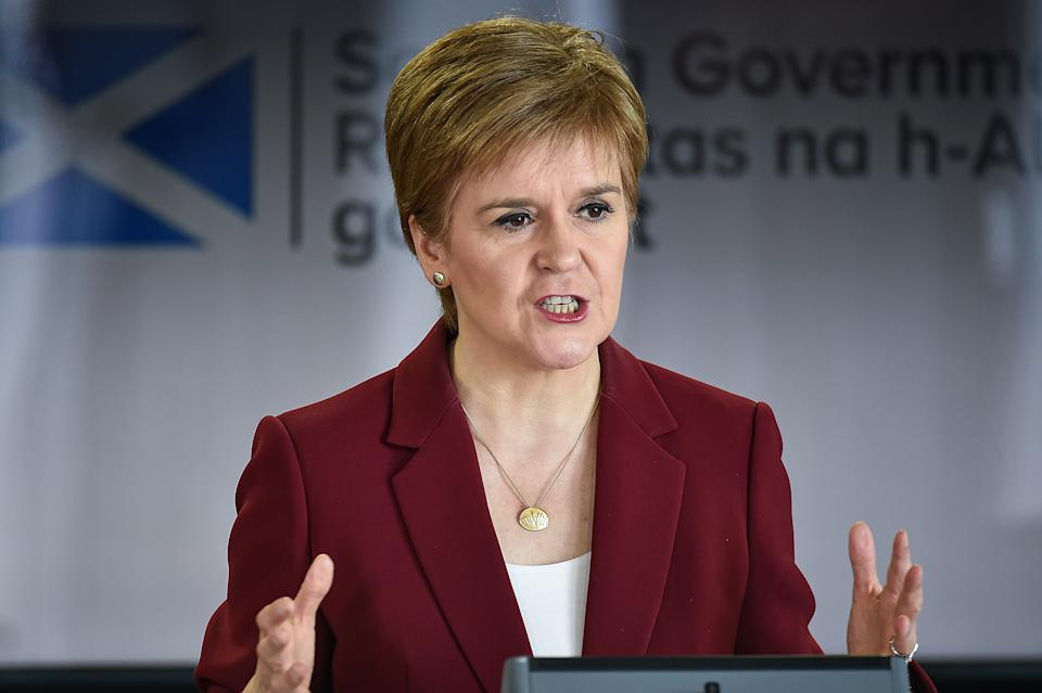 First Minister Nicola Sturgeon speaking at a coronavirus briefing at St Andrews House in Edinburgh. (PA)