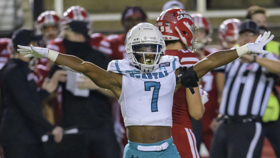Coastal Carolina cornerback D'Jordan Strong (7) celebrates braking up a pass during an NCAA football game against Louisiana-Lafayette on Wednesday, Oct. 14, 2020 in Lafayette, La. (AP Photo/Matthew Hinton)