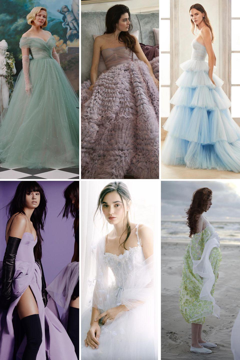 "<p>Blush was a trend ages ago; then, it became a mainstay for the aisle, followed by shades of ginger and champagne. Now, we're seeing cooler shades of pistachio, dove, lavender, and sky blue in all forms, from full ball gowns to flirty frocks. </p><p>Vera Wang, Monique Lhuillier, and Oscar de la Renta lead the cool tone charge; Wang showed lavender this season (along with touches of red and black, but more on those later), while Lhuiller's dove-toned gown joined the ranks of the soft greens she's been showing as of late. Laura Kim and Fernando Garcia's ""something blue"" gown for Fall 2020 was an early sign of the watercolor wonders we saw on the 2021 runways. Seems as though these soft tones are here to stay for a feminine yet cool take on aisle-appropriate color.</p><p><em>Clockwise from left: Rodarte Spring 2020; Luisa Beccaria Spring 2021; Oscar de la Renta Bridal Fall 2020; Vera Wang Fall 2021; Monique Lhuillier Bridal Fall 2021; Cecilie Bahnsen Spring 2021.</em></p>"