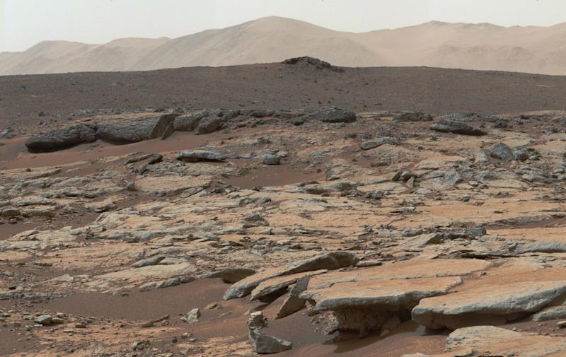 """GALE CRATER, MARS - DECEMBER 09: (----EDITORIAL USE ONLY MANDATORY CREDIT - """"NASA/JPL-CALTECH/MSSS / HANDOUT"""" - NO MARKETING NO ADVERTISING CAMPAIGNS - DISTRIBUTED AS A SERVICE TO CLIENTS----) A photo, covered by NASA's Curiosity Mars rover, shows series of sedimentary deposits in the Glenelg area of Gale Crater, from a perspective in Yellowknife Bay looking toward west-northwest on December 09, 2013. (Photo by NASA/JPL-CALTECH/MSSS / HANDOUT/Anadolu Agency/Getty Images)"""