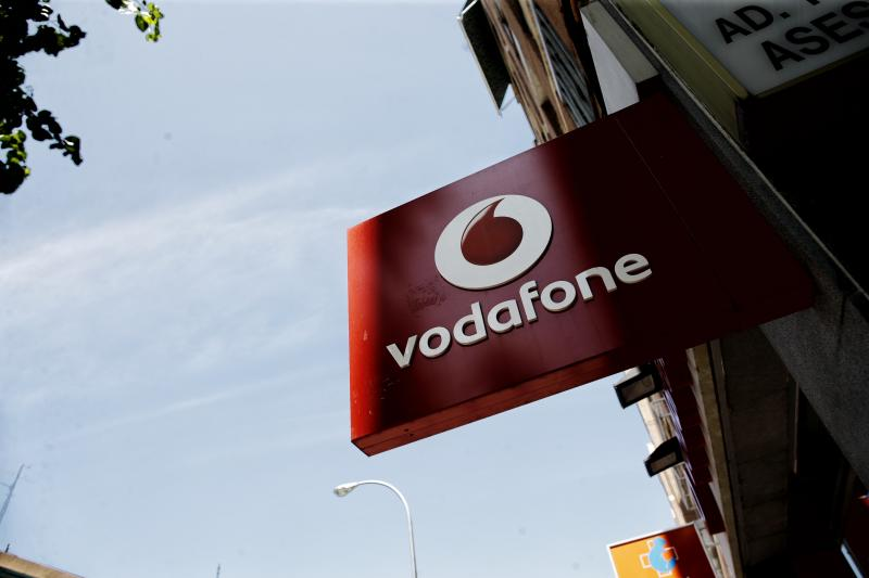 Vodafone logo in a store on July 26, 2019 in Madrid, Spain. Photo: Europa Press News/Europa Press via Getty Images