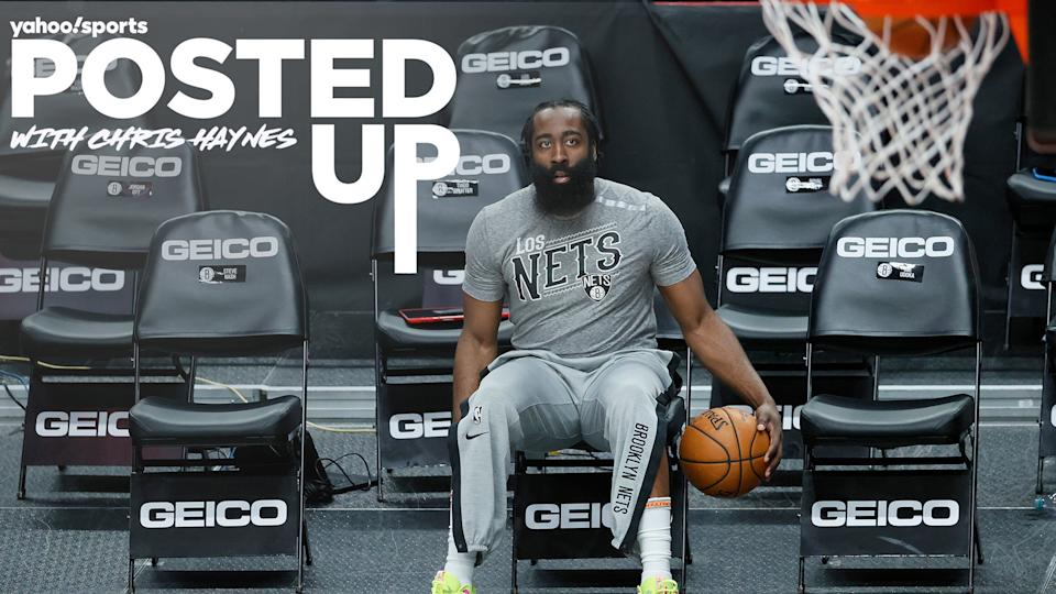 Brooklyn Nets guard James Harden warms up on the bench pre-game. Is the superstar a legit contender in the MVP race in a wide-open year? (Photo by Steph Chambers/Getty Images)