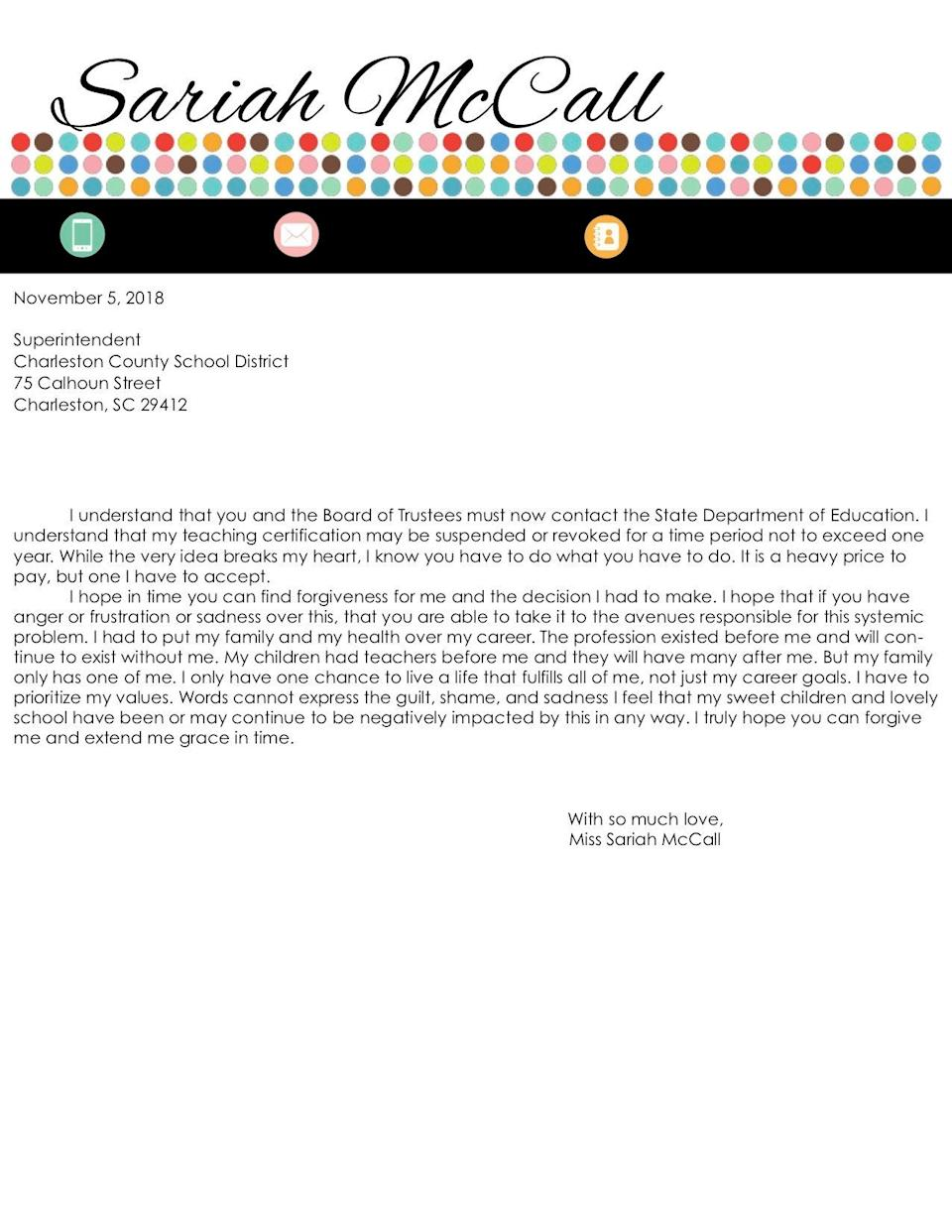 The second page of Sariah McCall's resignation letter addressed to the Charleston County School District Superintendent. (Credit: Sariah McCall)