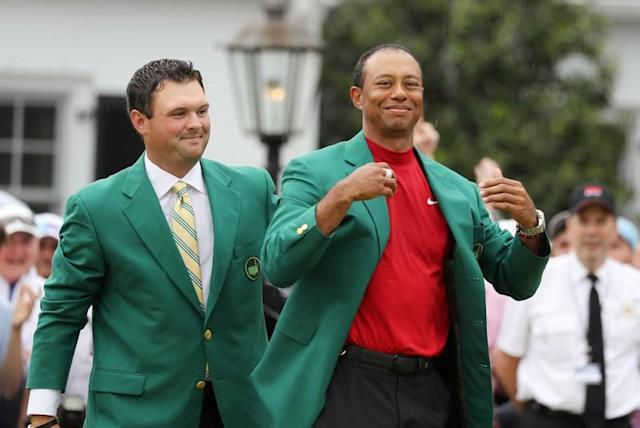 FILE PHOTO: Patrick Reed and Tiger woods at the 2019 Masters