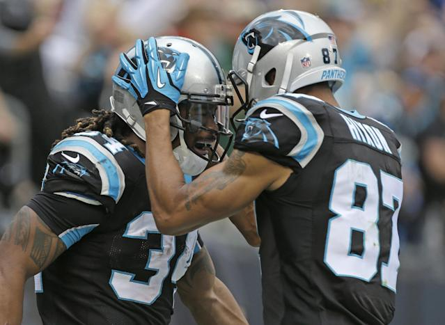 Carolina Panthers' DeAngelo Williams (34) is congratulated by teammate Domenik Hixon (87) after his touchdown run against the New Orleans Saints in the first half of an NFL football game in Charlotte, N.C., Sunday, Dec. 22, 2013. (AP Photo/Bob Leverone)