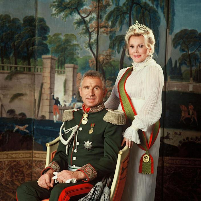 "<p>Actress and socialite Zsa Zsa Gabor was married a whopping <a href=""https://www.biography.com/actor/zsa-zsa-gabor"" rel=""nofollow noopener"" target=""_blank"" data-ylk=""slk:nine times"" class=""link rapid-noclick-resp"">nine times</a>, although she claimed she only had eight different husbands. Her husbands included: Turkish government official Burhan Asaf Belge, hotel magnate Conrad Hilton, actor George Sanders, financier Herbert Hutner, oil tycoon Joshua Cosden, inventor Jack Ryan, attorney Michael O'Hara and actor Felipe de Alba. Her last marriage was to Frédéric Prinz von Anhalt in 1986; they were married until her death in 2016.</p>"