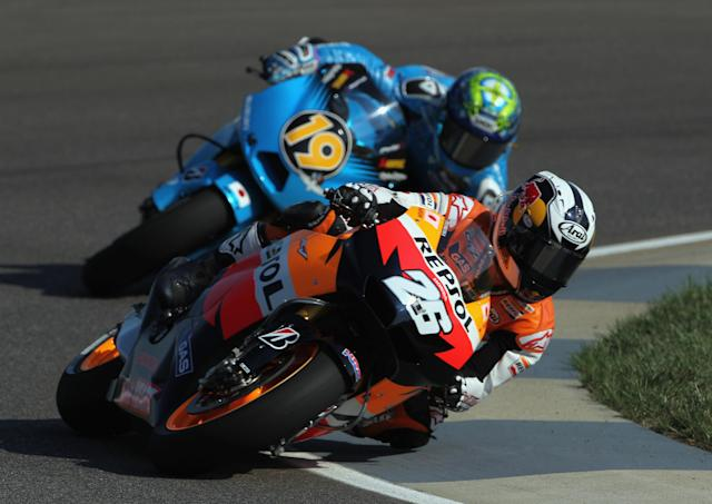 INDIANAPOLIS, IN - AUGUST 27: Dani Pedrosa #26 of Spain in action during Moto GP practice at Indianapolis Motorspeedway on August 27, 2011 in Indianapolis, Indiana. (Photo by Jamie Squire/Getty Images)
