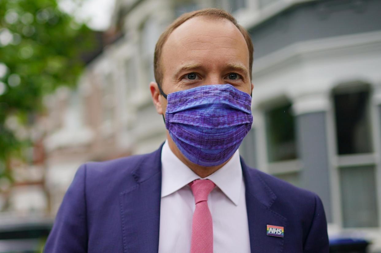 Health Minister Matt Hancock outside his home in north-west London, the day after a series of WhatsApp exchanges were published, criticising him over coronavirus testing. Picture date: Thursday June 17, 2021.
