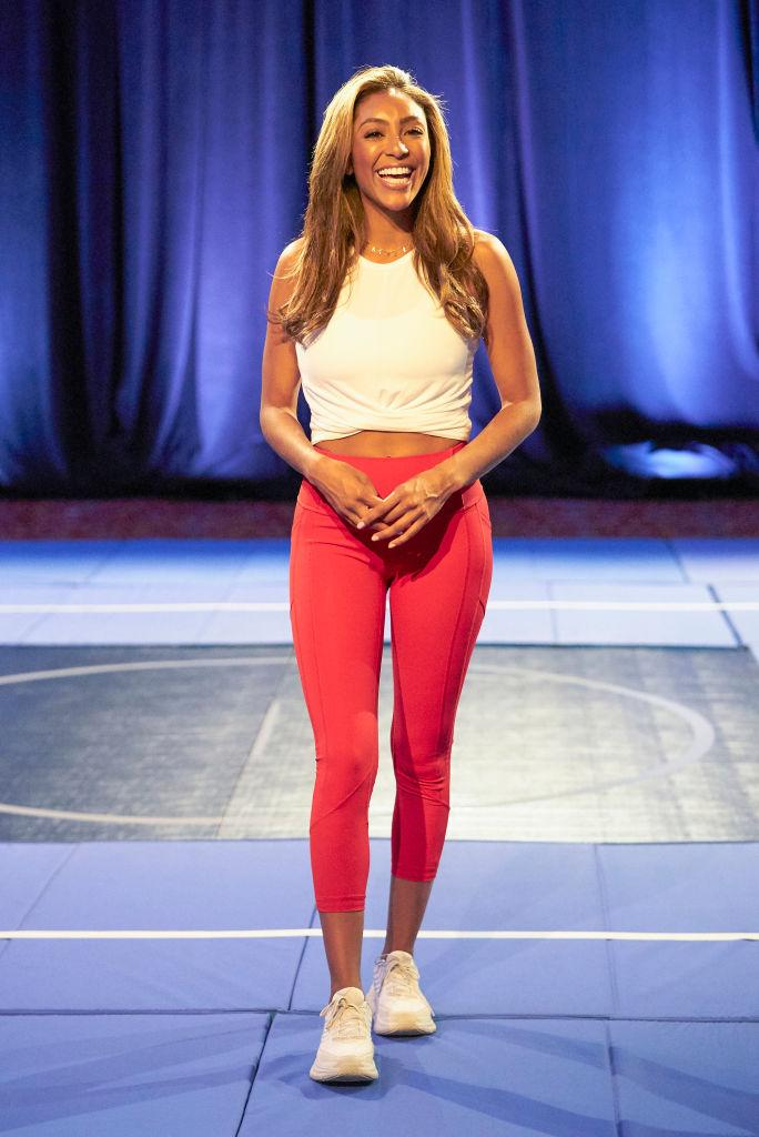 """Tayshia Adams wore Lululemon's All The Right Places Crop II leggings and an Alo Yoga tank during the Nov. 17 episode of """"The Bachelorette."""" (Craig Sjodin via Getty Images)"""