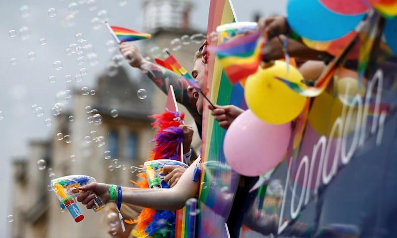 The Pride in London Parade, 2016. Issues for the LGBT community can include recognition by daily services including banking.