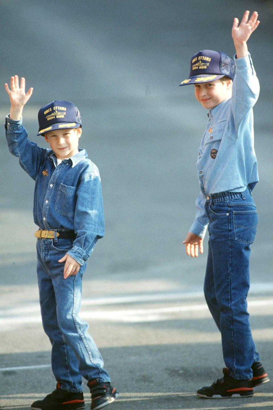 <p>Harry and William match in denim looks during a trip to Canada. </p>