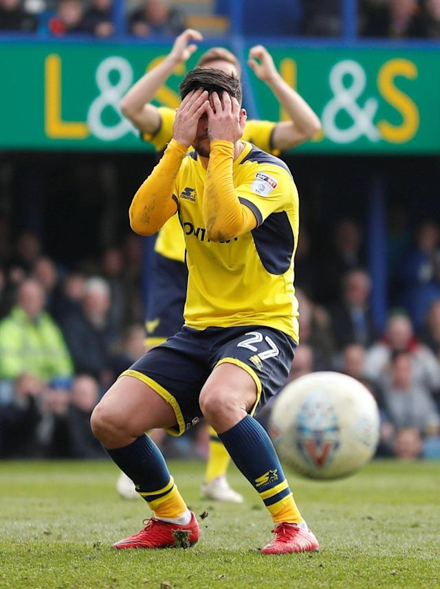 "Soccer Football - League One - Portsmouth vs Oxford United - Fratton Park, Portsmouth, Britain - March 25, 2018 Oxford United's Alex Mowatt reacts after missing a penalty Action Images/Peter Cziborra EDITORIAL USE ONLY. No use with unauthorized audio, video, data, fixture lists, club/league logos or ""live"" services. Online in-match use limited to 75 images, no video emulation. No use in betting, games or single club/league/player publications. Please contact your account representative for further details."