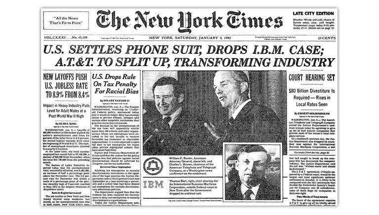 Front page of the New York Times from Jan. 9, 1982.