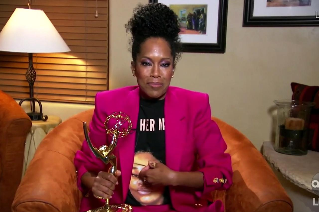 "<p>The Emmy winner also honored Breonna Taylor with her ensemble at the 2020 ceremony. She first wore her <a title=""(opens new window)"" href=""https://phenomenalwoman.us/collections/justice-for-breonna/products/breonna-taylor-t-shirt"" target=""_blank"">Phenomenal Woman T-shirt</a> on Instagram, to demand justice for Taylor, then switched things up on Sunday <a href=""https://people.com/style/emmys-2020-regina-king-honors-breonna-taylor-statement-t-shirt/"">by wearing the shirt backwards</a>, to show Taylor's face and the words ""SAY HER NAME"" in capital letters.</p> <p>""It's been 150 days since Breonna Taylor was murdered in her sleep by Jonathan Mattingly, Brett Hankison, and Myles Cosgrove — and her killers have not been charged. Too often Black women who die from police violence are forgotten,"" King wrote on <a href=""https://www.instagram.com/p/CDty7-3AoA3/?utm_source=ig_embed"">Instagram</a>.</p> <p>""Let's stay loud, keep demanding justice for Breonna and her family, and SAY HER NAME. This campaign and T-shirt was created by <a title=""(opens new window)"" href=""https://www.instagram.com/phenomenal/"" target=""_blank"">@phenomenal</a> in partnership with the Breonna Taylor Foundation, to which all profits will be donated,"" she continued.</p>"