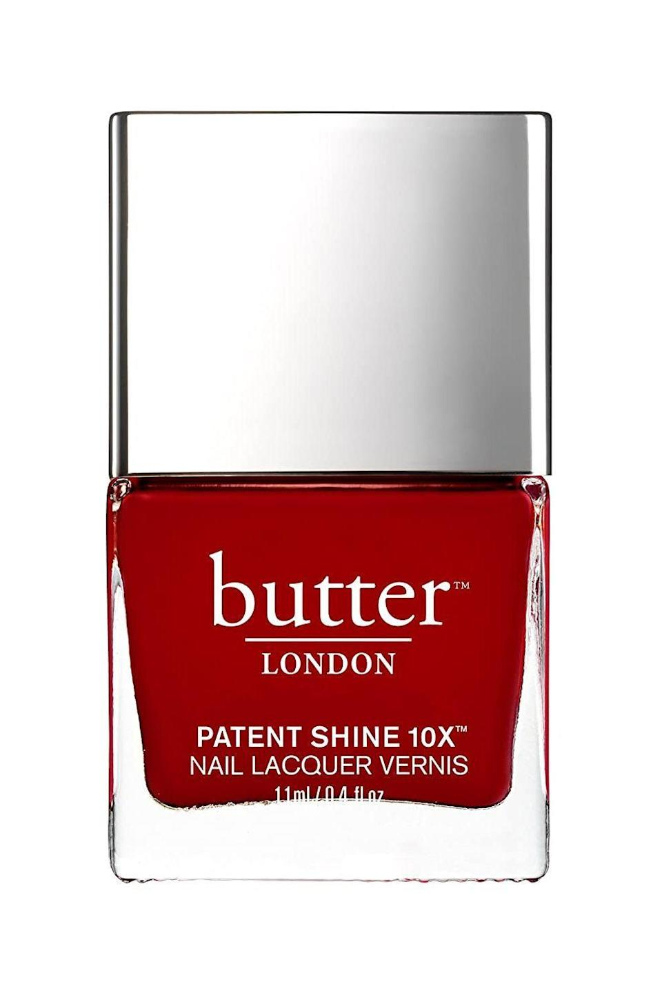 """<p><strong>butter LONDON</strong></p><p>amazon.com</p><p><strong>$18.00</strong></p><p><a href=""""https://www.amazon.com/dp/B00V6R2YW8?tag=syn-yahoo-20&ascsubtag=%5Bartid%7C10049.g.33966550%5Bsrc%7Cyahoo-us"""" rel=""""nofollow noopener"""" target=""""_blank"""" data-ylk=""""slk:Shop Now"""" class=""""link rapid-noclick-resp"""">Shop Now</a></p><p>If you didn't know better, you'd think two coats of this bright-red natural nail polish were actually <a href=""""https://www.cosmopolitan.com/style-beauty/beauty/a31902971/gel-nails-at-home/"""" rel=""""nofollow noopener"""" target=""""_blank"""" data-ylk=""""slk:gels"""" class=""""link rapid-noclick-resp"""">gels</a>. The ultra-shiny, 10-free formula is <strong>proven to last without chipping or dulling for up to 10 days</strong>. I mean, what more could you ask for?</p>"""