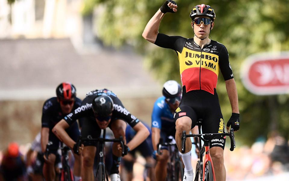 Wout van Aert - Wout van Aert charges into Tour of Britain leader's jersey after sprinting to stage one victory - GETTY IMAGES