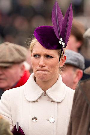 <p>Purple...feathers...we're not sure about Zara Phillips' hat either.</p>