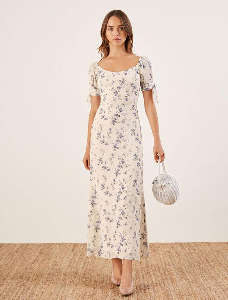 "<p>Meredith Dress, $218, <a rel=""nofollow"" href=""https://www.thereformation.com/products/meredith-dress?color=Madeline&via=Z2lkOi8vcmVmb3JtYXRpb24td2VibGluYy9Xb3JrYXJlYTo6Q2F0YWxvZzo6Q2F0ZWdvcnkvNWE2YWRmZDJmOTJlYTExNmNmMDRlOWM2"">thereformation.com</a> </p>"