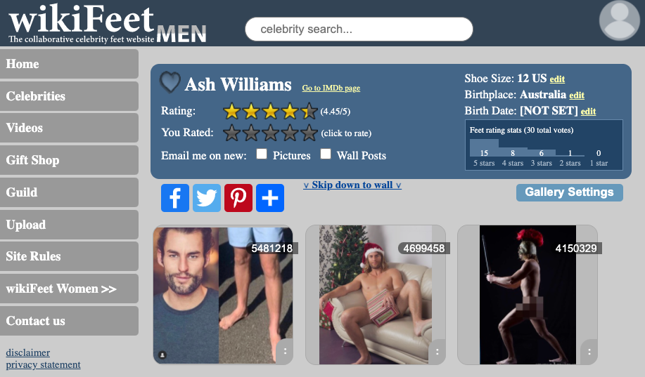 Ash's profile on WikiFeet. Photo: wikifeet.com.