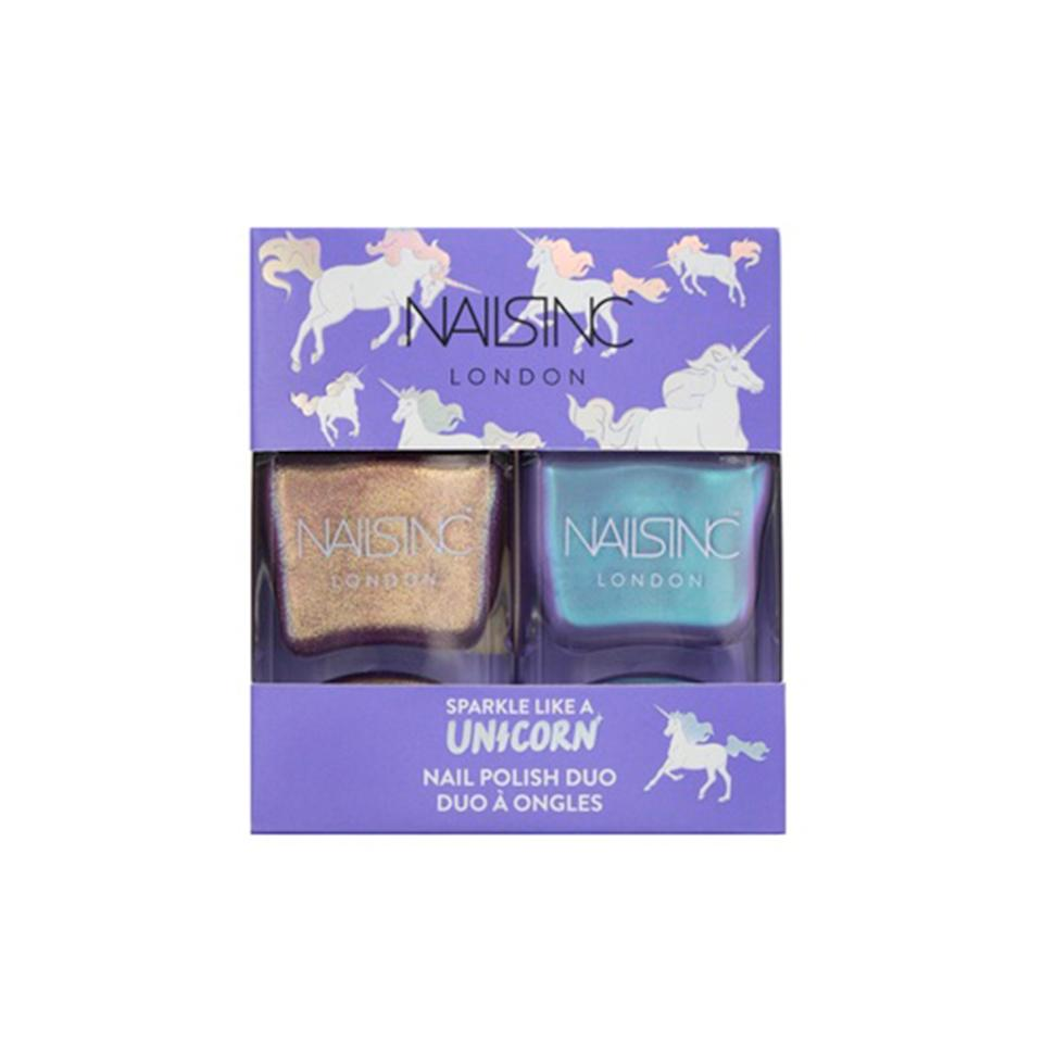 "<p>Mix and match this holographic pair with your favorite nail polish shades, or let them shine on their own.</p><p>$15 (<a rel=""nofollow"" href=""https://us.nailsinc.com/collections/nails-inc-sparkle-like-a-unicorn-nail-polish-duo-kit_1590?mbid=synd_yahoobeauty"">nailsinc.com</a>).</p>"