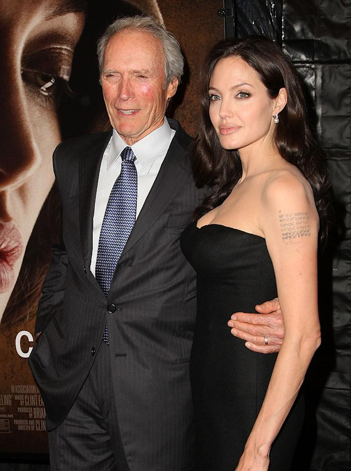 """<a href=""""http://movies.yahoo.com/movie/contributor/1800019744"""">Clint Eastwood</a> and <a href=""""http://movies.yahoo.com/movie/contributor/1800019275"""">Angelina Jolie</a> at the 46th Annual New York Film Festival premiere of <a href=""""http://movies.yahoo.com/movie/1809945088/info"""">Changeling</a> - 10/04/2008"""