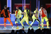 FILE - This April 25, 2019 file photo shows CNCO performing at the Billboard Latin Music Awards in Las Vegas. The Latin American boy band CNCO is downsizing. The group announced on its official Instagram page Sunday, May 9, 2021, that 22-year-old Joel Pimentel is leaving the band, making the successful quintet a quartet. (Photo by Eric Jamison/Invision/AP, File)