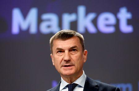 FILE PHOTO: European Commission Vice-President Andrus Ansip addresses a news conference on Digital Single Market at the EU Commission headquarters in Brussels, Belgium May 10, 2017. REUTERS/Francois Lenoir/File Photo