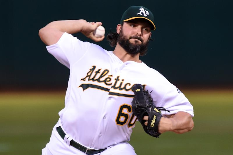 OAKLAND, CA - SEPTEMBER 16: Oakland Athletics pitcher Tanner Roark (60) delivers during the Major League Baseball game between the Kansas City Royals and the Oakland Athletics at RingCentral Coliseum on September 16, 2019 in Oakland, CA. (Photo by Cody Glenn/Icon Sportswire via Getty Images)
