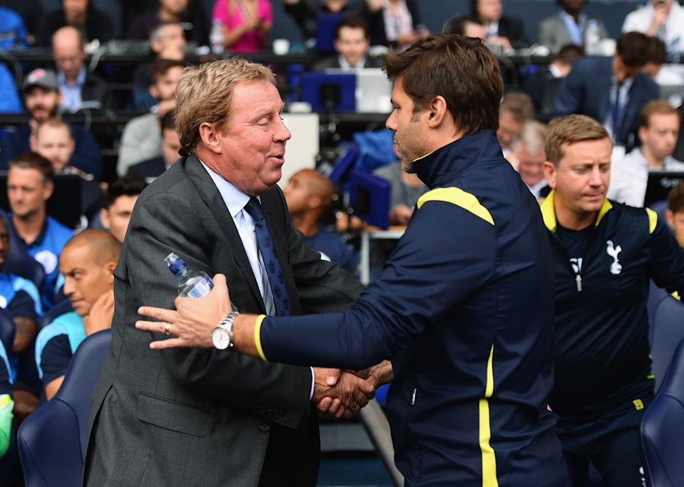 Harry Redknapp and Mauricio Pochettino during the Barclays Premier League match between Tottenham Hotspur and Queens Park Rangers at White Hart Lane on August 24, 2014 in London, England.