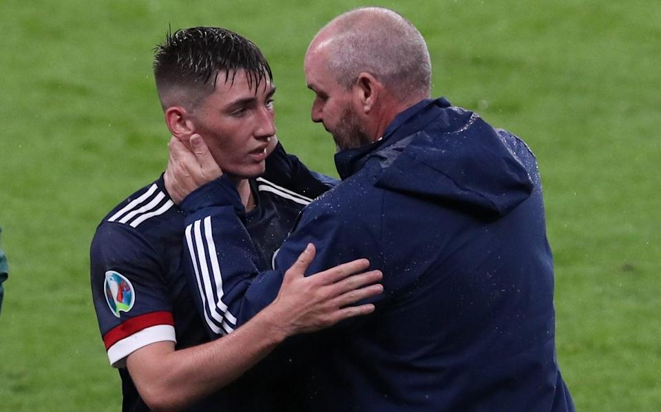Manager Steve Clarke congratulates Gilmour on a job well done - GETTY IMAGES
