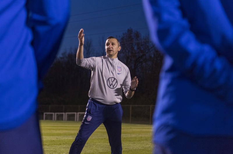 Vlatko Andonovski at USWNT training ahead of his first game as head coach. (Brad Smith/ISI Photos/Getty Images).