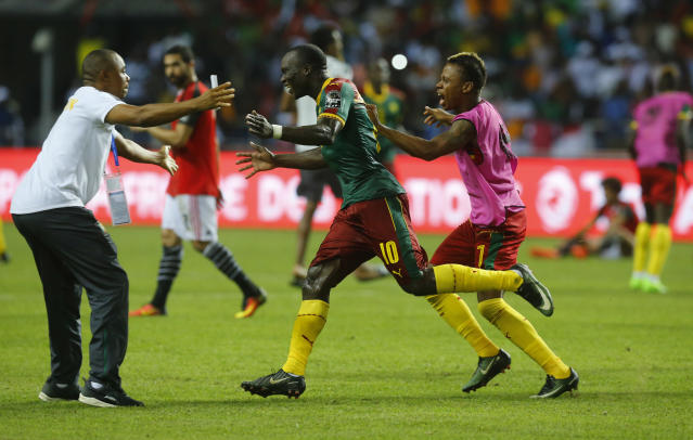 Football Soccer - African Cup of Nations - Final - Egypt v Cameroon - Stade d'Angondjé - Libreville, Gabon - 5/2/17 Cameroon's Vincent Aboubakar celebrates scoring their second goal Reuters / Mike Hutchings Livepic