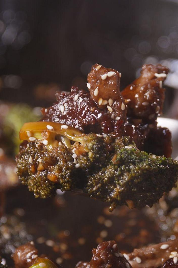 """<p>The sauce in this Mongolian beef is fire.</p><p>Get the recipe from <a href=""""https://www.delish.com/cooking/recipe-ideas/recipes/a49172/mongolian-beef-broccoli-recipe/"""" rel=""""nofollow noopener"""" target=""""_blank"""" data-ylk=""""slk:Delish"""" class=""""link rapid-noclick-resp"""">Delish</a>.</p>"""