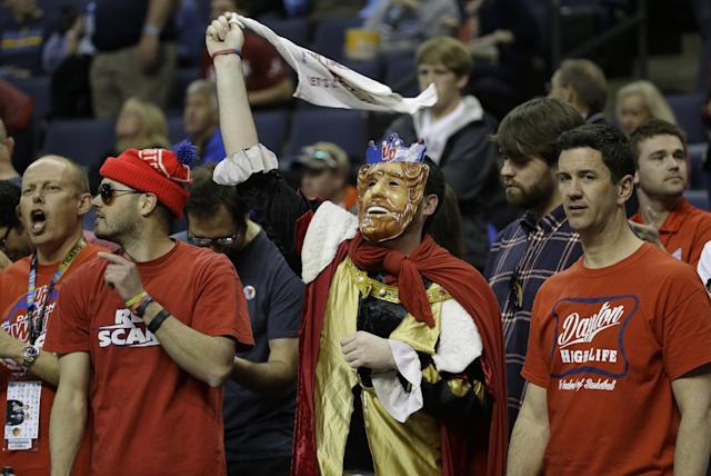 Dayton fans cheer before the first half in a regional final game against Florida at the NCAA college basketball tournament, Saturday, March 29, 2014, in Memphis, Tenn. (AP Photo/Mark Humphrey)