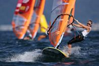 <p>FUJISAWA, JAPAN - JULY 25: Katye Spychakov of Team Israel competes in the Women's RS:X Windsurf class on day two of the Tokyo 2020 Olympic Games at Enoshima Yacht Harbour on July 25, 2021 in Fujisawa, Kanagawa, Japan. (Photo by Clive Mason/Getty Images)</p>