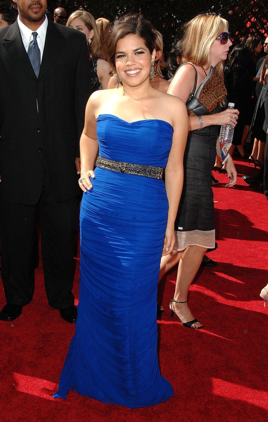 <p>Ferrera wore this blue dress when she won her Emmy for Outstanding Lead Actress in a Comedy Series in 2007. </p>