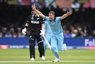 Chris Woakes appeals after trapping Guptill LBW (Photo by Gareth Copley-IDI/IDI via Getty Images)