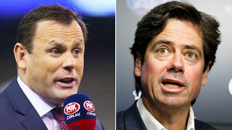 Pictured here, ex-player David King and AFL CEO Gillon McLachlan.