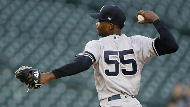 PHOTO: New York Yankees' Domingo German pitches against the Detroit Tigers during the fifth inning of the second game of a baseball doubleheader, Thursday, Sept. 12, 2019, in Detroit. (Duane Burleson/AP)