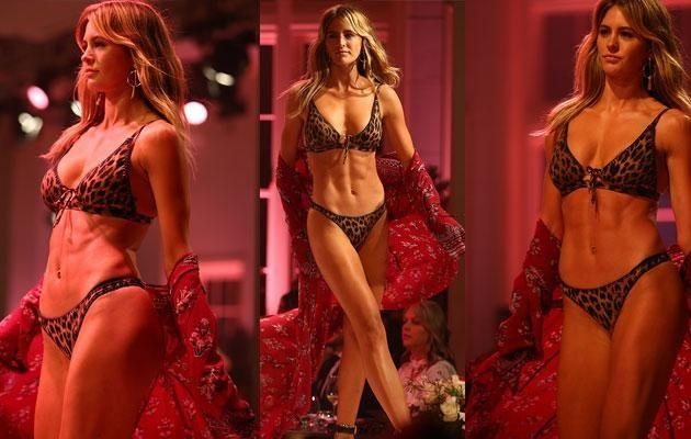 Jesinta struts her stuff on the runway. Source: Getty